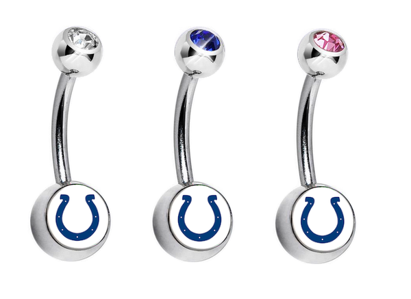 Indianapolis Colts Swarovski Crystal Classic Style NFL Belly Ring