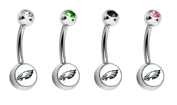 Philadelphia Eagles Swarovski Crystal Classic Style NFL Belly Ring