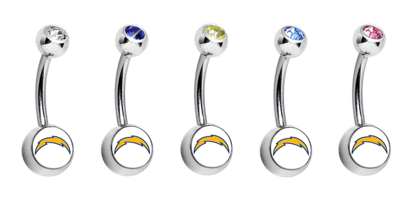Los Angeles Chargers Swarovski Crystal Classic Style NFL Belly Ring