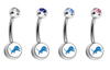 Detroit Lions Swarovski Crystal Classic Style NFL Belly Ring