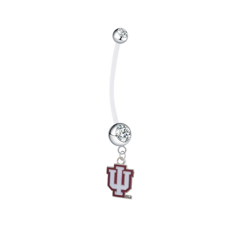 Indiana Hoosiers Pregnancy Maternity Clear Belly Button Navel Ring - Pick Your Color