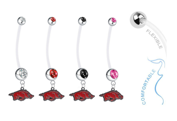 Arkansas Razorbacks Pregnancy Maternity Belly Button Navel Ring - Pick Your Color