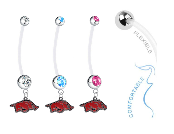 Arkansas Razorbacks Boy/Girl Pregnancy Maternity Belly Button Navel Ring