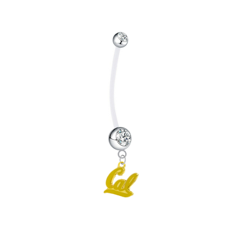 California Cal Golden Bears Style 2 Boy/Girl Clear Pregnancy Maternity Belly Button Navel Ring