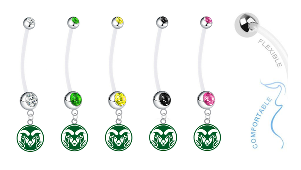 Colorado State Rams Pregnancy Maternity Belly Button Navel Ring - Pick Your Color