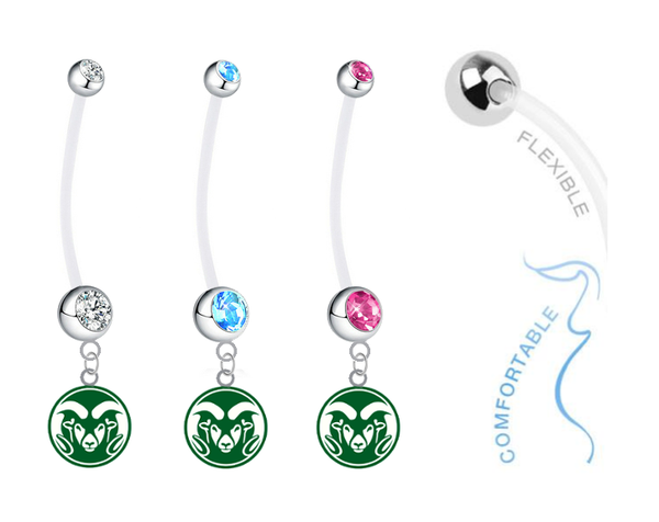 Colorado State Rams Boy/Girl Pregnancy Maternity Belly Button Navel Ring
