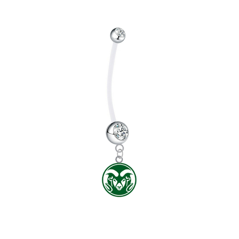 Colorado State Rams Pregnancy Clear Maternity Belly Button Navel Ring - Pick Your Color