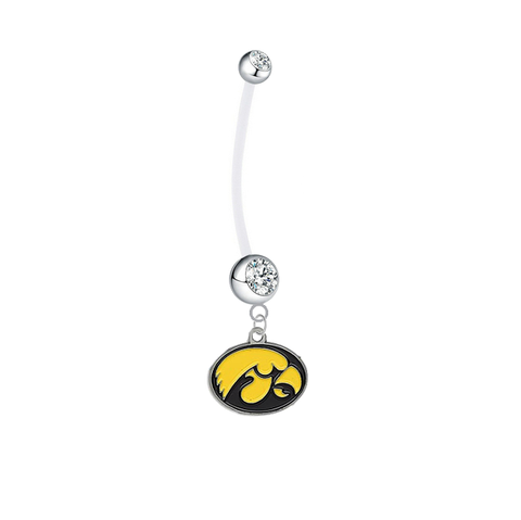 Iowa Hawkeyes Pregnancy Maternity Clear Belly Button Navel Ring - Pick Your Color