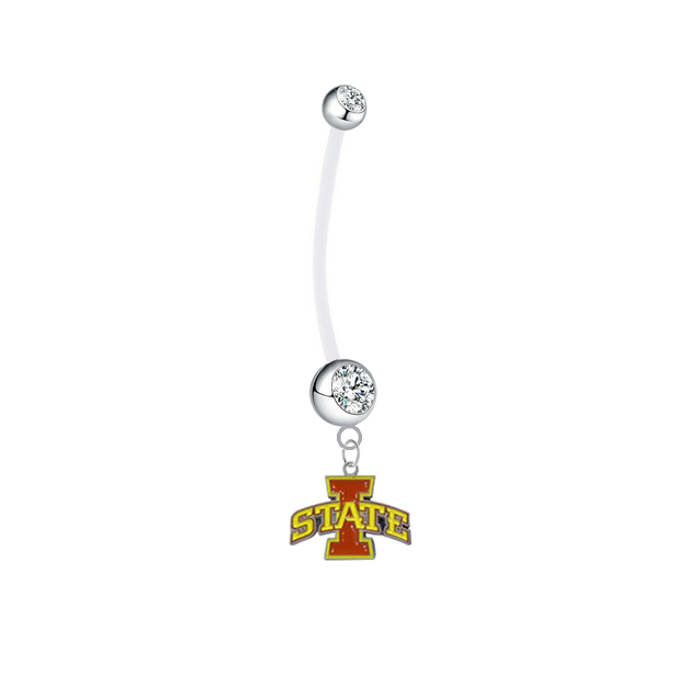 Iowa State Cyclones Boy/Girl Clear Pregnancy Maternity Belly Button Navel Ring