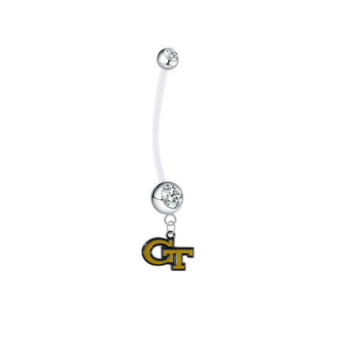 Georgia Tech Yellow Jackets Pregnancy Maternity Clear Belly Button Navel Ring - Pick Your Color