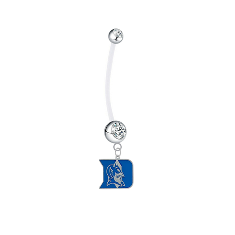 Duke Blue Devils Pregnancy Maternity Clear Belly Button Navel Ring - Pick Your Color