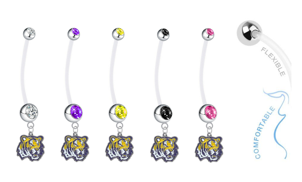 LSU Tigers Pregnancy Maternity Belly Button Navel Ring - Pick Your Color