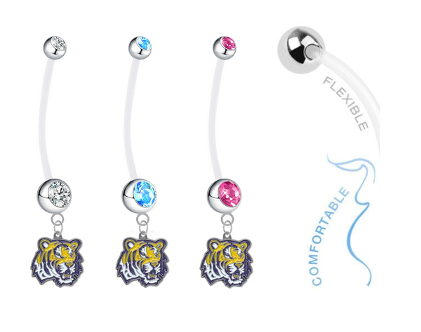 LSU Tigers Boy/Girl Pregnancy Maternity Belly Button Navel Ring