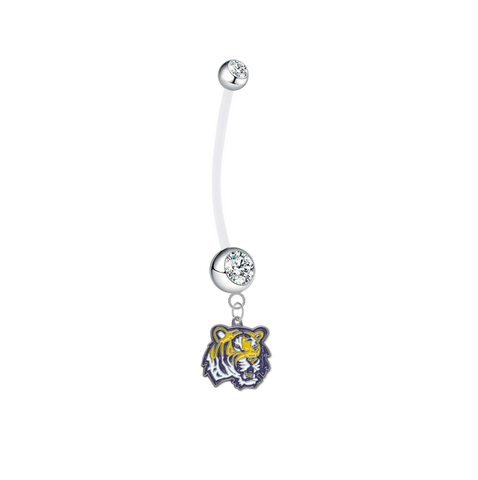 LSU Tigers Boy/Girl Clear Pregnancy Maternity Belly Button Navel Ring