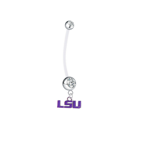 LSU Tigers Style 2 Boy/Girl Clear Pregnancy Maternity Belly Button Navel Ring