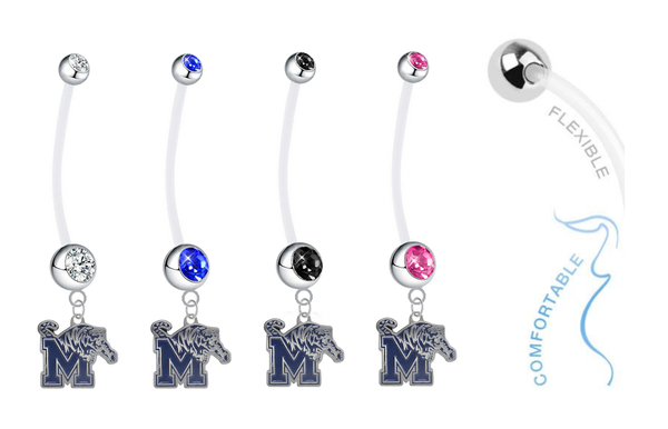 Memphis Tigers Pregnancy Maternity Belly Button Navel Ring - Pick Your Color