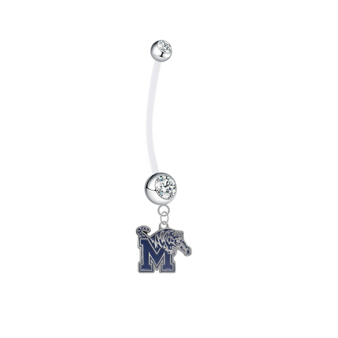 Memphis Tigers Pregnancy Clear Maternity Belly Button Navel Ring - Pick Your Color