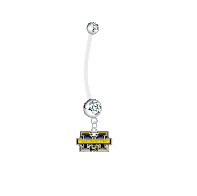 Michigan Wolverines Pregnancy Clear Maternity Belly Button Navel Ring - Pick Your Color