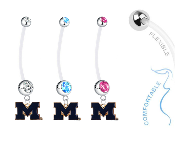 Michigan Wolverines Style 2 Boy/Girl Pregnancy Maternity Belly Button Navel Ring