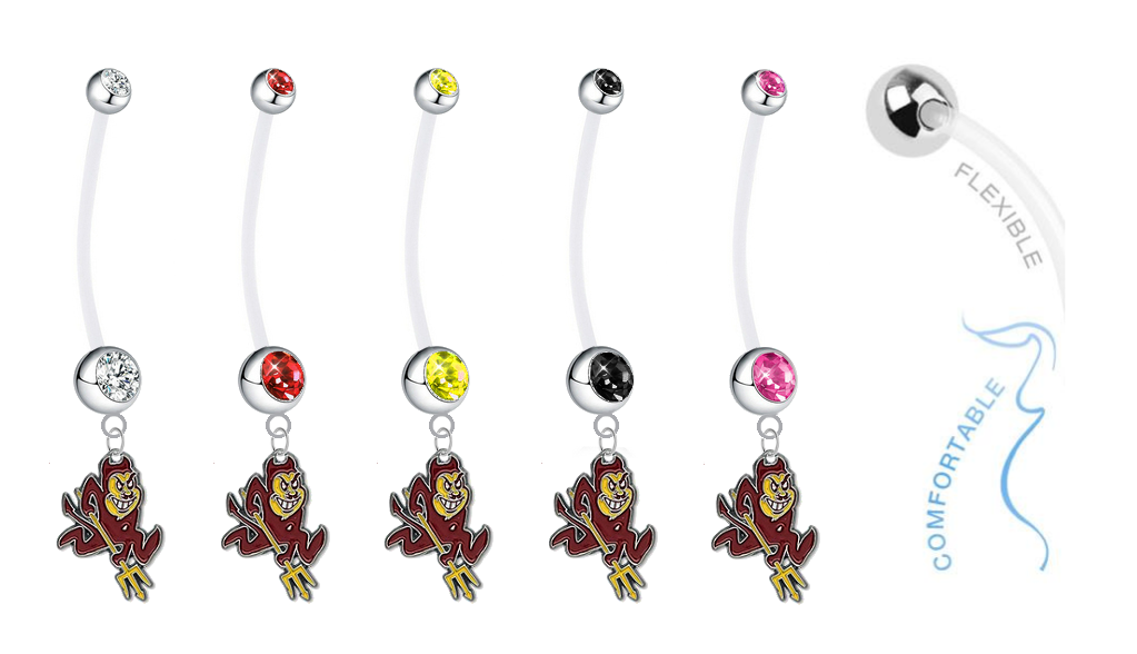 Arizona State Sun Devils Pregnancy Maternity Belly Button Navel Ring - Pick Your Color