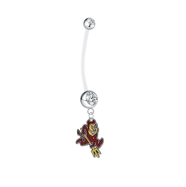 Arizona State Sun Devils Pregnancy Maternity Clear Belly Button Navel Ring - Pick Your Color