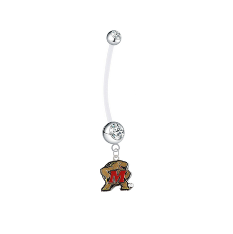 Maryland Terrapins Pregnancy Maternity Clear Belly Button Navel Ring - Pick Your Color