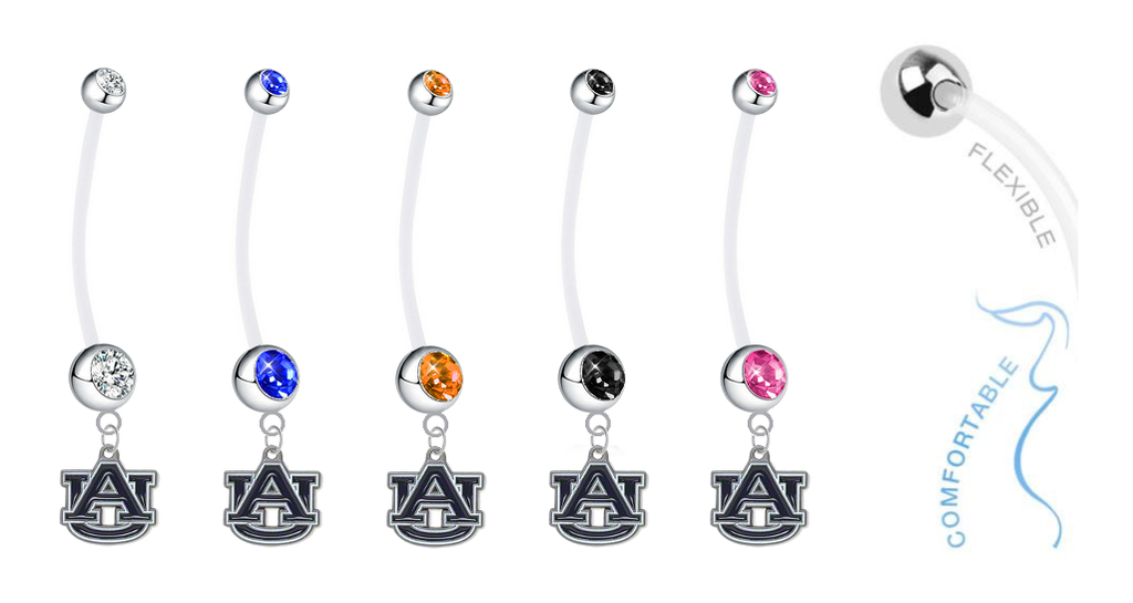 Auburn Tigers Pregnancy Maternity Belly Button Navel Ring - Pick Your Color