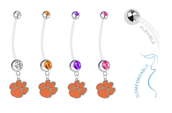 Clemson Tigers Pregnancy Maternity Belly Button Navel Ring - Pick Your Color