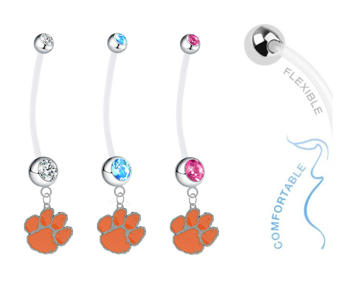 Clemson Tigers Boy/Girl Pregnancy Maternity Belly Button Navel Ring