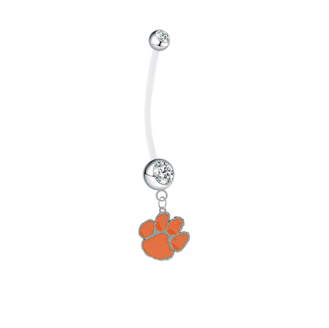 Clemson Tigers Pregnancy Maternity Clear Belly Button Navel Ring - Pick Your Color