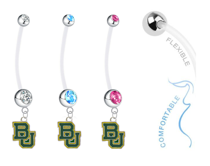 Baylor Bears Boy/Girl Pregnancy Maternity Belly Button Navel Ring
