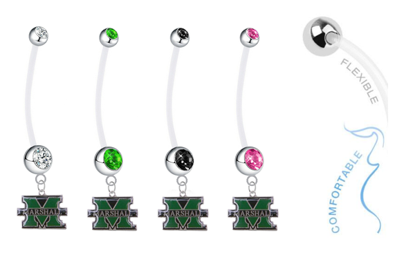 Marshall Thundering Herd Pregnancy Maternity Belly Button Navel Ring - Pick Your Color
