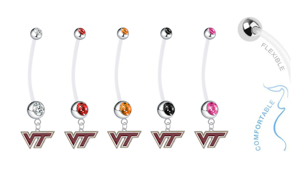 Virginia Tech Hokies Pregnancy Maternity Belly Button Navel Ring - Pick Your Color