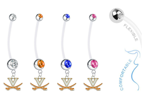 Virginia Cavaliers Pregnancy Maternity Belly Button Navel Ring - Pick Your Color