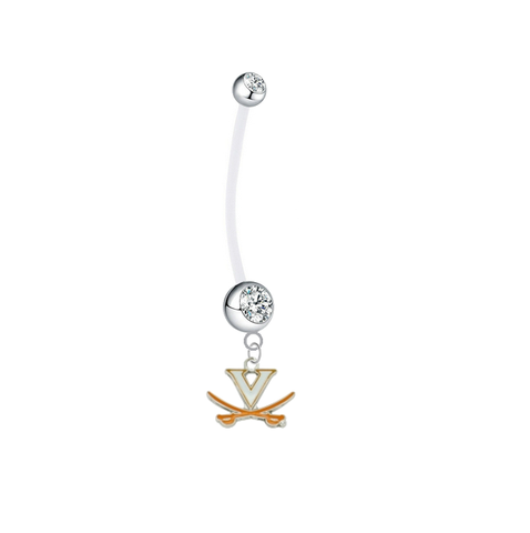 Virginia Cavaliers Pregnancy Clear Maternity Belly Button Navel Ring - Pick Your Color