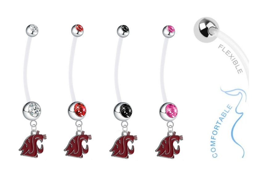 Washington State Cougars Pregnancy Maternity Belly Button Navel Ring - Pick Your Color