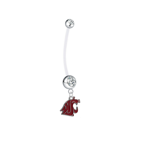 Washington State Cougars Pregnancy Maternity Clear Belly Button Navel Ring - Pick Your Color