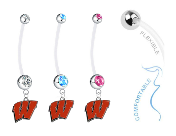 Wisconsin Badgers Boy/Girl Pregnancy Maternity Belly Button Navel Ring