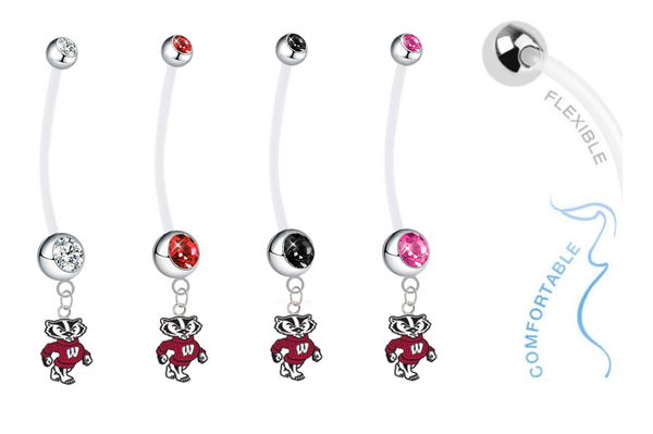 Wisconsin Badgers Mascot Pregnancy Maternity Belly Button Navel Ring - Pick Your Color
