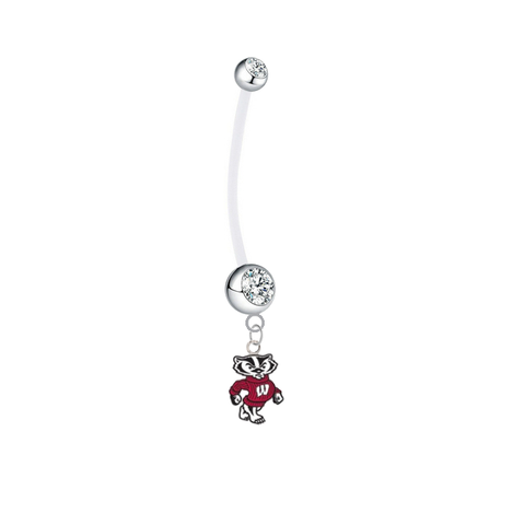 Wisconsin Badgers Mascot Boy/Girl Clear Pregnancy Maternity Belly Button Navel Ring