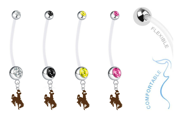 Wyoming Cowboys Pregnancy Maternity Belly Button Navel Ring - Pick Your Color
