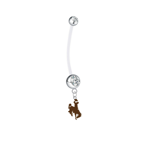 Wyoming Cowboys Pregnancy Clear Maternity Belly Button Navel Ring - Pick Your Color