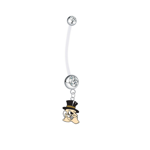 Wake Forest Demon Deacons Pregnancy Clear Maternity Belly Button Navel Ring - Pick Your Color