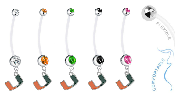 Miami Hurricanes Pregnancy Maternity Belly Button Navel Ring - Pick Your Color