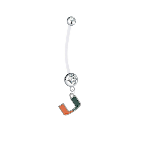 Miami Hurricanes Pregnancy Clear Maternity Belly Button Navel Ring - Pick Your Color
