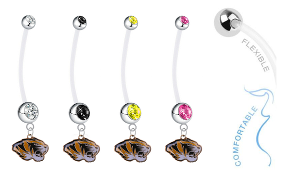 Missouri Tigers Pregnancy Maternity Belly Button Navel Ring - Pick Your Color