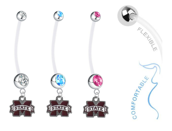 Mississippi State Bulldogs Boy/Girl Pregnancy Maternity Belly Button Navel Ring
