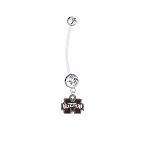 Mississippi State Bulldogs Pregnancy Maternity Clear Belly Button Navel Ring - Pick Your Color