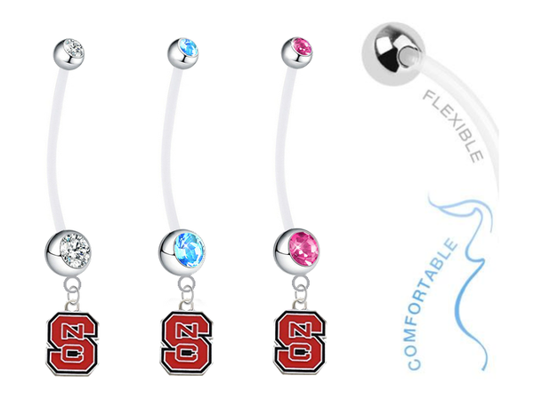North Carolina State Wolfpack Boy/Girl Pregnancy Maternity Belly Button Navel Ring