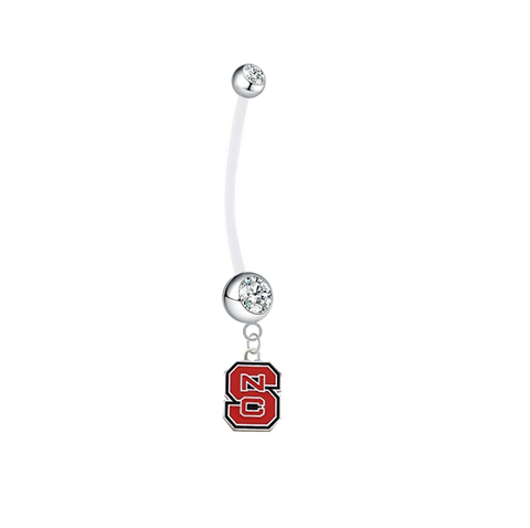 North Carolina State Wolfpack Pregnancy Maternity Clear Belly Button Navel Ring - Pick Your Color